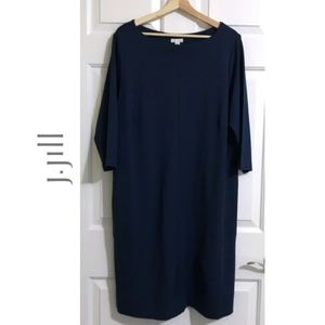 J.Jill Ponte Tunic 3/4 Sleeve Pockets Sheath Dress